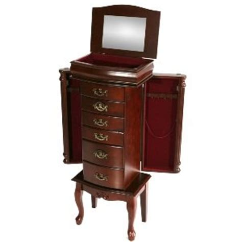 amazon jewelry armoire amazon com sei freestanding jewelry armoire mahogany furniture decor