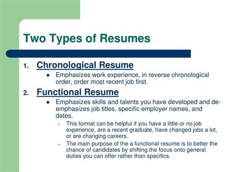 Two Types Of Resumes by Ppt Resume Writing Workshop Powerpoint Presentation Id