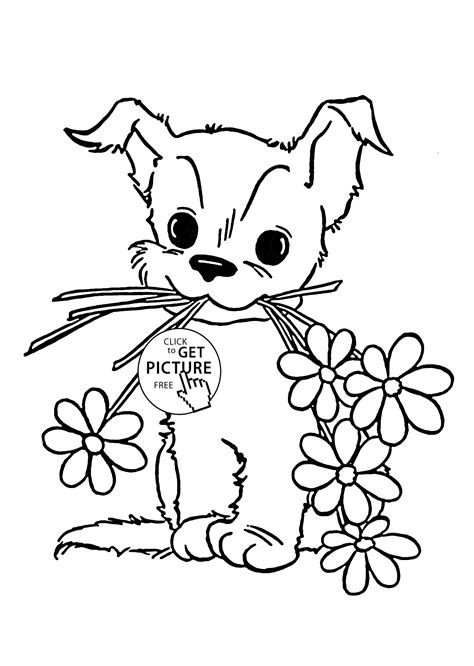 coloring pages of animals and flowers cute puppy with flower coloring page for kids animal