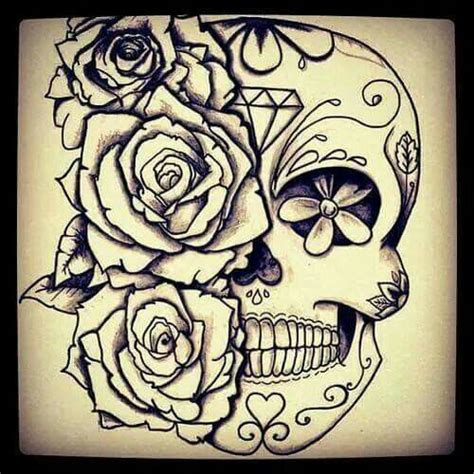 sugar skull tattoo with roses sugar skull with flowers flower fish
