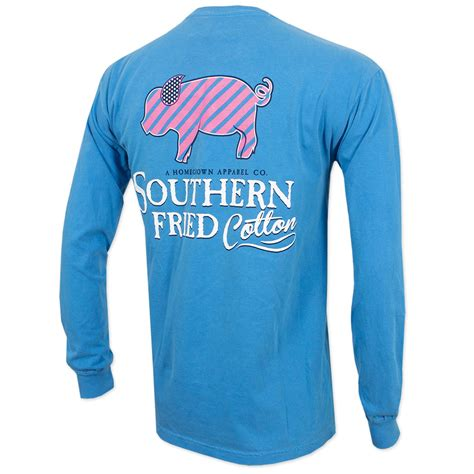 southern cotton apparel southern fried cotton striped pig sleeve t shirt blue