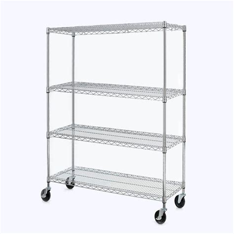 Chrome 4 Shelf Steel Wire Tier Layer Shelving 72 Quot X48x17 Quot Storage Rack Ebay Wire Shelving Installation Template