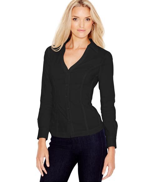 sleeve lace up shirt guess sleeve lace up shirt in black jet black lyst