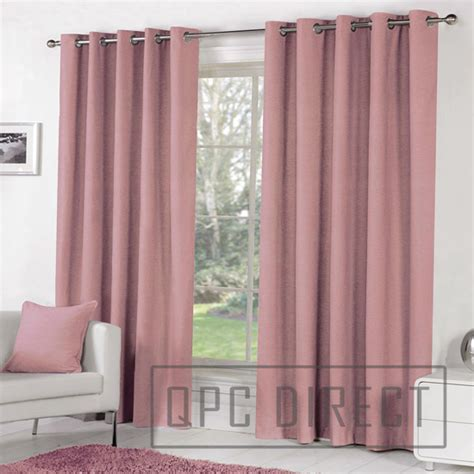 Blush Pink Curtains Pair Of Plain Dyed 100 Cotton Eyelet Ring Top Lined Curtains Dusky Pink Blush Ebay