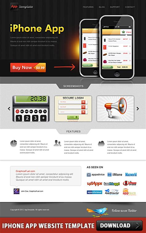 layout iphone psd iphone app website template psd download download psd