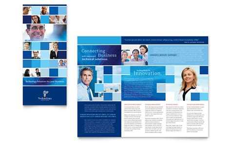 technology consulting it tri fold brochure template