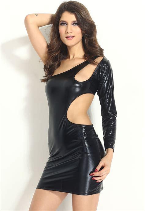 Metallic In The Summer by Black Shiny Metallic Bodycon Club Dress Casual