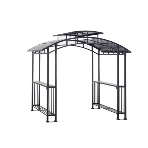 hardtop grill gazebo sunjoy bar harbor 5 ft x 8 ft brown top grill
