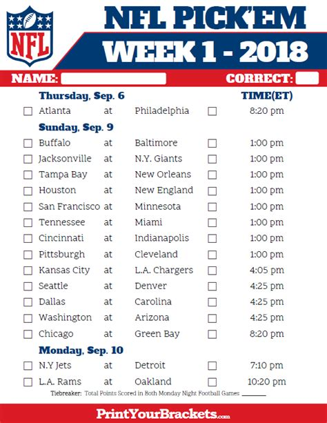 printable nfl schedule 2017 nfl weekly pick em sheet 2017 printable team schedules