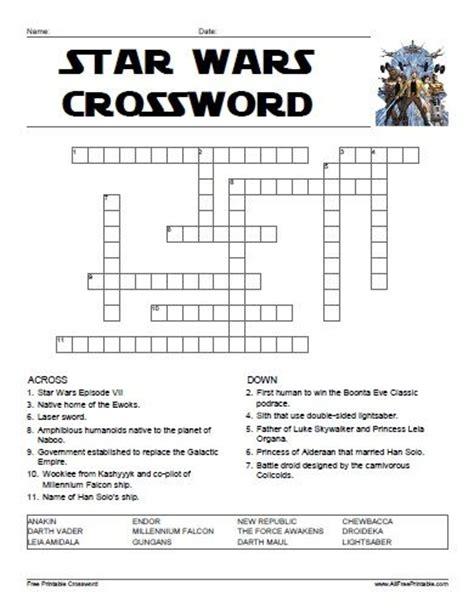 printable star wars quiz star wars crossword all free printable pinterest