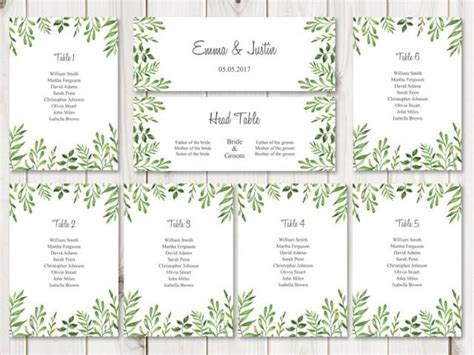 wedding seating list template watercolor wedding seating chart template quot lovely leaves