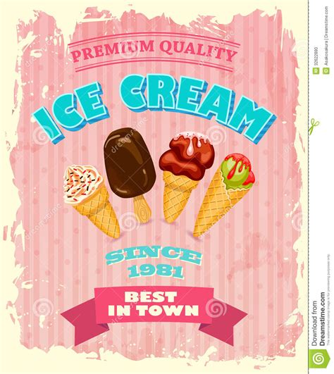 design poster ice cream vintage ice cream poster design stock vector