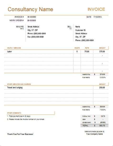 consulting templates consultant invoice template for excel