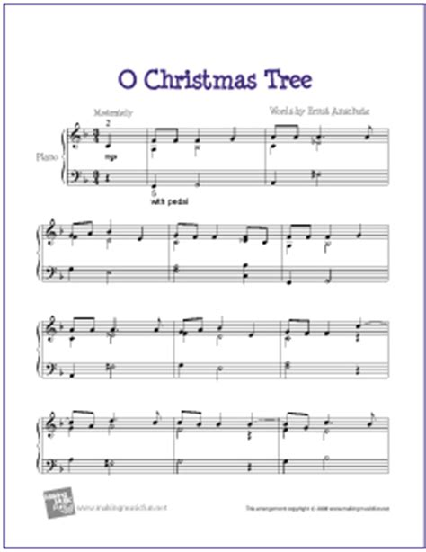 o christmas tree free easy jazz piano sheet music