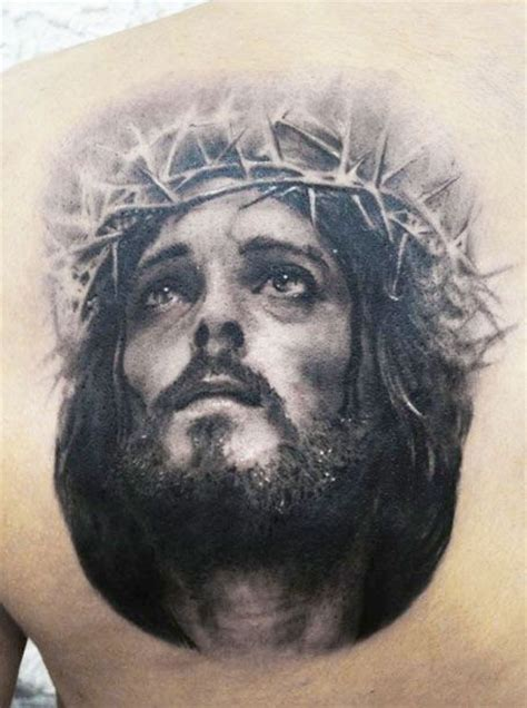 jesus thorn tattoo awesome portrait of jesus in a crown of thorns tattoo