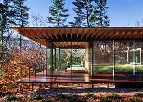 glass house new canaan glass wood house new canaan connecticut by kengo kuma associates