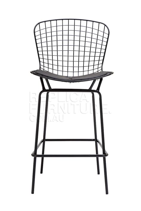 Wire Bar Stools Black by Harry Bertoia Wire Bar Stool Replica In Black Powdercoat