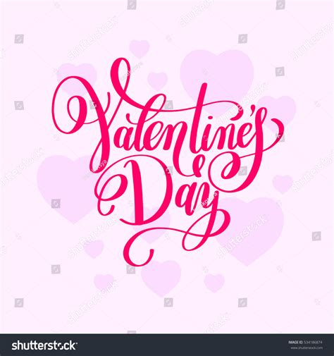 valentines day handwritten lettering greeting stock