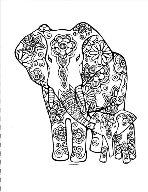 detailed elephant coloring pages adult coloring page original hand drawn art in black and