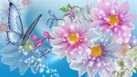 wallpaper biru muda bunga merah muda biru bunga keindahan hd wallpaper desktop