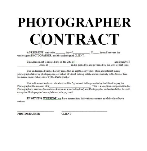 wedding photography contract template current photoshot sample dates