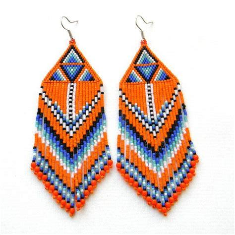 beaded earrings patterns large orange seed bead earrings beadwork earrings