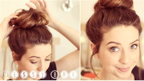 how to do quick messy hairstyles how to messy bun zoella youtube