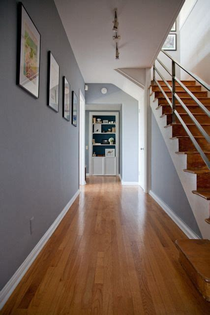 Grey Walls With Wood Floors by Grey Hallway Crea