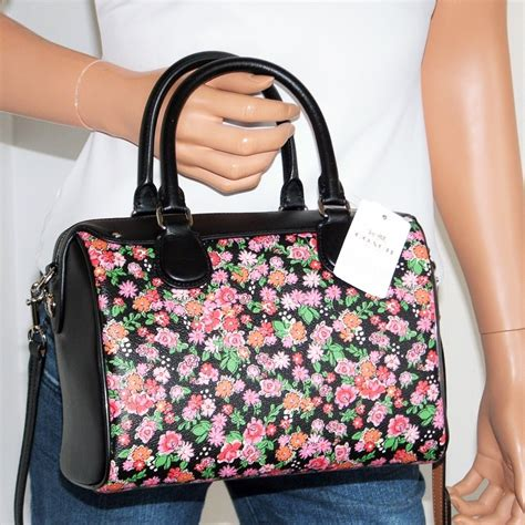 Coach Posey Cluster Floral Mini Satchel F57621 nwt coach floral black leather mini satchel glitter key chain wallet set ebay