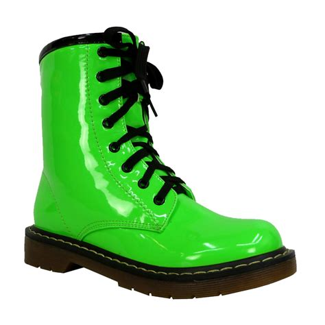boots green dm7 womens neon green lace up zip up funky combat
