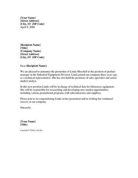 Promotion Letter To Customer Doc 750562 Doc672441 Promotion Announcement Writing