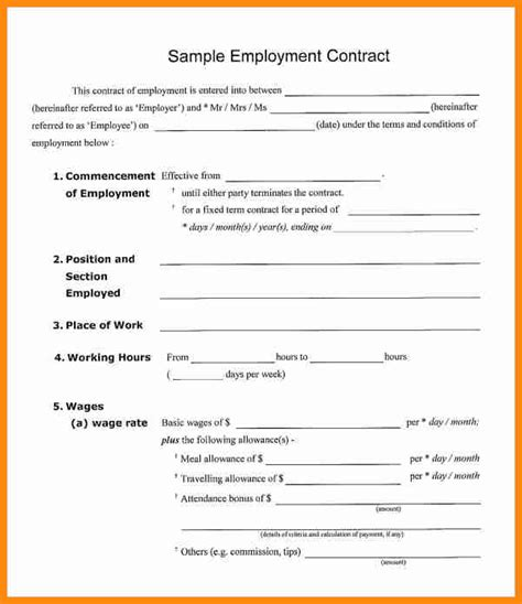 employment contract template pdf 8 contract of employment template pdf driver resume