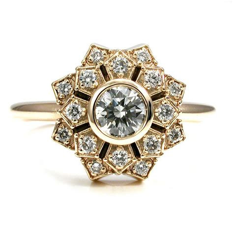 deco gold engagement rings deco engagement ring petal halo 14k yellow gold