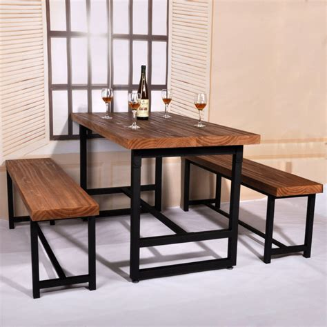 Cafe Set In american country wood dining table domestic iron cafe