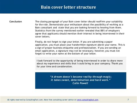 cover letter for bain and company bain cover letter sle