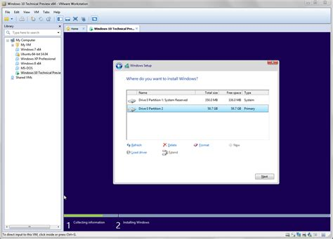 install windows 10 partition try windows 10 tech preview with vmware workstation and