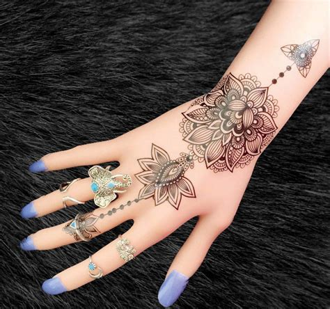 temporary tattoos tribal aiyana tribal lotus temporary white henna lotus