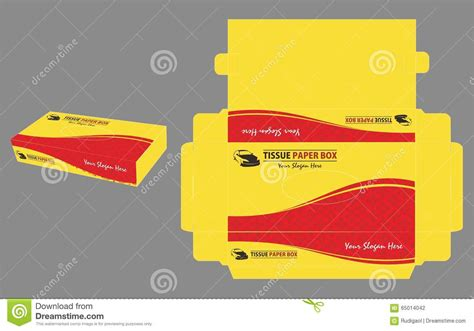 yellow and red tissue paper box stock vector image 65014042