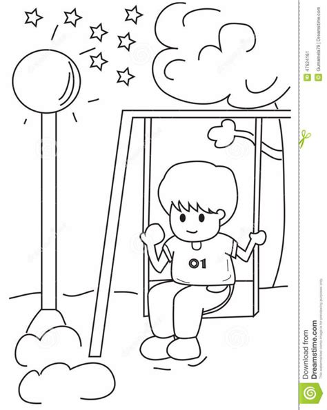 swing color playing on swings coloring sheet printable coloring pages