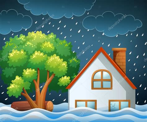 flood clipart disaster of flooding stock vector