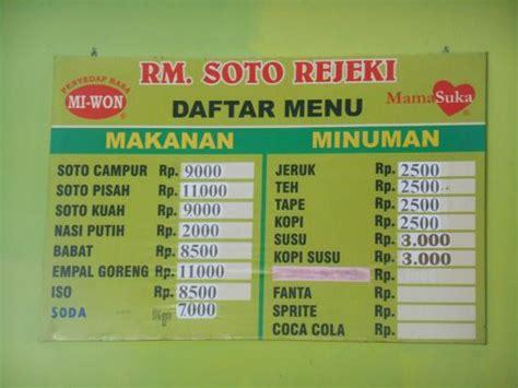 Harga Makanan Dan Minuman Lezat by Warung Yang Mungil Picture Of Warung Soto Rejeki Bantul