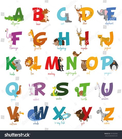 stickers alphabet animals from u to z stock vector zoo illustrated alphabet stock vector