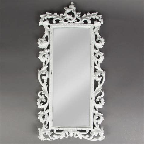 shabby chic baroque statement white brushed mirror