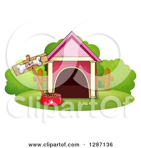 dog house food clipart of a pink dog house food bowl and bone sign royalty free vector