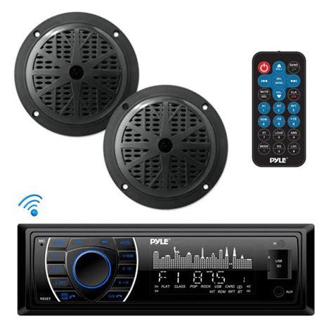 boat speakers dj pyle plmrkt46bk bluetooth marine receiver stereo speaker