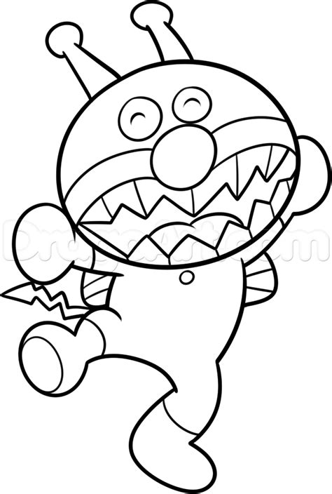 How To Draw Baikinman From Anpanman Step By Step Anime Anpanman Coloring Pages