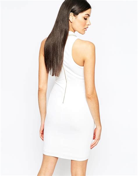 43798 White Trim Dress lipsy bodycon dress with chain trim in white lyst