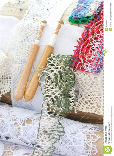 Handmade Lwork - bobbin lace handmade work royalty free stock photography