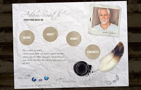 html5 templates for books adam smith writer personal html5 template on behance