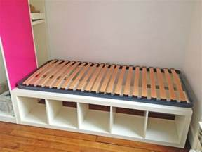 Bookshelf Bed Frame Diy Build An Inexpensive Bed With Storage Using Bookcases